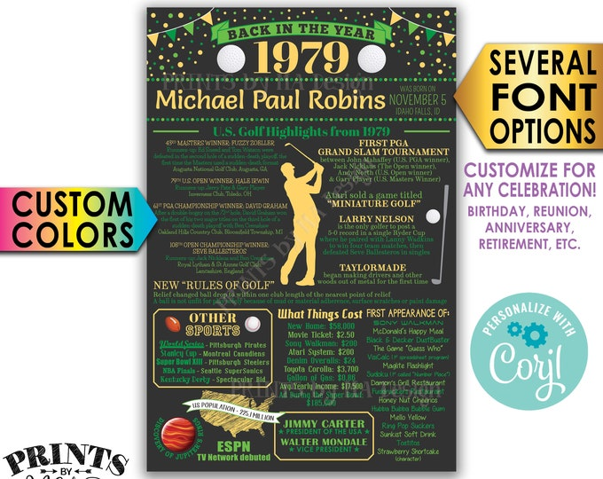"Back in 1979 Poster, Golf Themed Celebration, Birthday, Retirement, Custom PRINTABLE 24x36"" 1979 Flashback Sign <Edit Yourself with Corjl>"