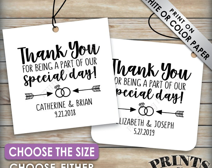 """Wedding Tags, Thank You for Being a Part of Our Special Day Tags, Diamond Ring Wedding Party Gifts, Choose the Size, 8.5x11"""" PRINTABLE Sheet"""