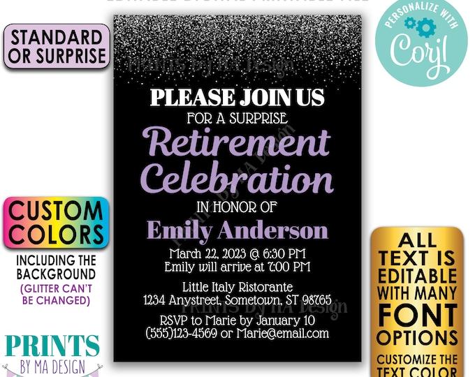 "Editable Retirement Celebration Invite, Silver Glitter, Custom PRINTABLE 5x7"" Retirement Party Invitation <Edit Yourself with Corjl>"