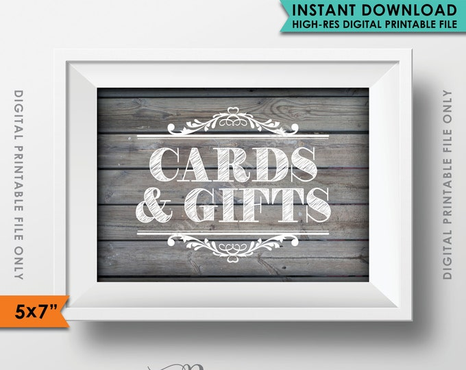 "Cards and Gifts Sign, Gifts Table, Gifts and Cards, Wedding Shower, Birthday, Rustic Wood Style 5x7"" Instant Download Digital Printable File"