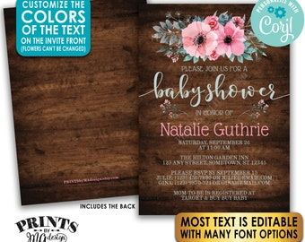 "Floral Baby Shower Invitation, Pink Teal/Turquoise Gray Flowers, Custom PRINTABLE 5x7"" Rustic Wood Style Invite <Edit Yourself w/Corjl>"
