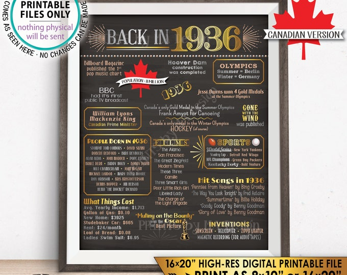 """Flashback to 1936 in CANADA Back in 1936 Birthday Sign, 1936 Flashback Poster, Birthday, Golden, PRINTABLE 16x20"""" Sign <ID>"""