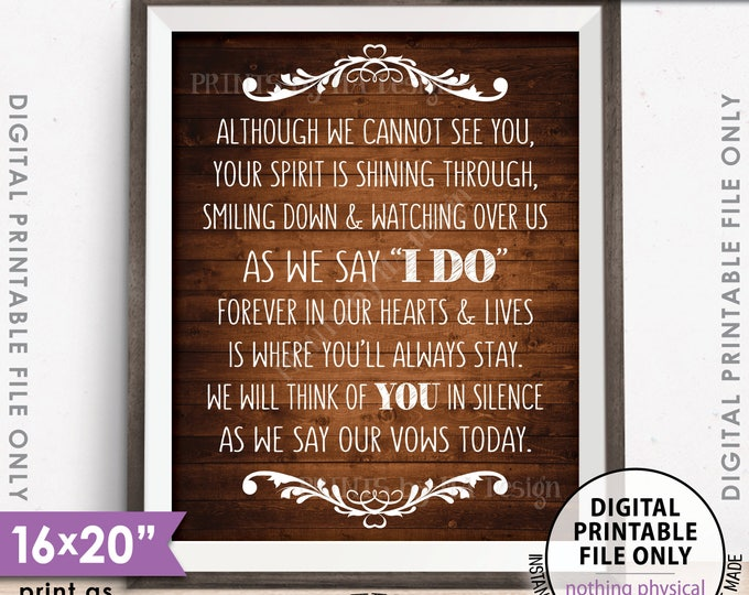 "Heaven Wedding Sign Although we cannot see you Thinking Of You Wedding Tribute Sign 8x10/16x20"" Rustic Wood Style PRINTABLE Instant Download"