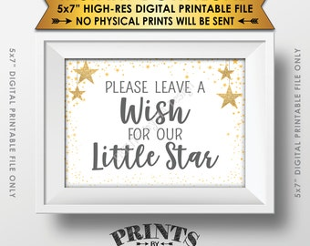 """Well Wishes for Baby Shower Sign, Share a Wish Gray Text Baby Shower Decor Gold Glitter Twinkle Stars, Instant Download 5x7"""" Printable Sign"""