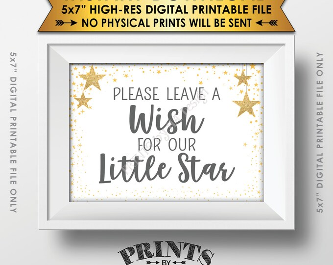 "Well Wishes for Baby Shower Sign, Share a Wish Gray Text Baby Shower Decor Gold Glitter Twinkle Stars, Instant Download 5x7"" Printable Sign"