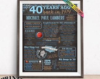 "40th Birthday Gift 1979 Birthday Poster, Flashback 40 Years Ago Back in 1979, Custom PRINTABLE 16x20"" 1979 Bday Poster"