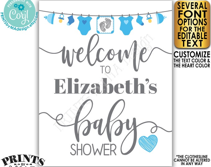 "Editable Baby Shower Welcome Sign, It's a Boy, Blue Decoration, Baby Clothesline, PRINTABLE 8x10/16x20"" Sign <Edit Yourself w/Corjl>"