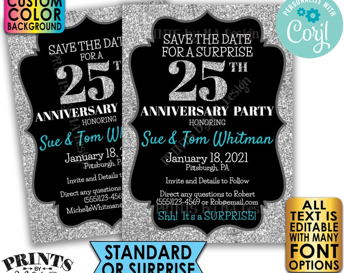 "Silver Glitter Anniversary Party Save the Date, Surprise or Standard Invite, Custom PRINTABLE 5x7"" Digital File <Edit Yourself with Corjl>"