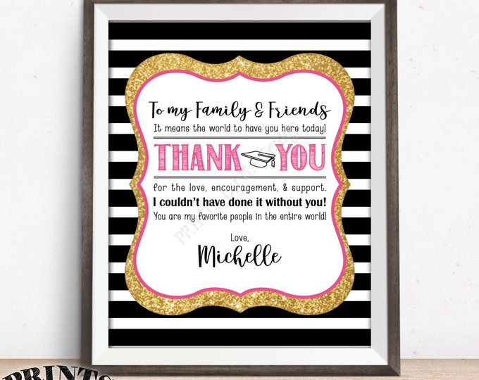 "Thank You Sign, Graduation Party Decoration, Thanks from the Graduate Thank You Poster, PRINTABLE 8x10"" Black Pink & Gold Glitter Grad Sign"