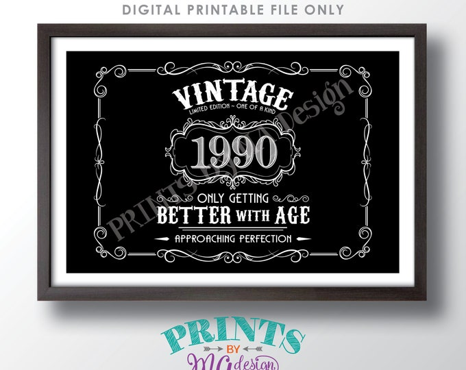 "1990 Birthday Sign, Better with Age Vintage Birthday Poster, Whiskey/Liquor Theme, Black & White PRINTABLE 24x36"" Landscape Sign <ID>"