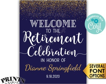 """Retirement Party Sign, Welcome to the Retirement Celebration Sign, Navy Blue & Gold Glitter PRINTABLE 16x20"""" Sign <Edit Yourself with Corjl>"""