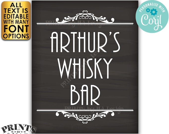 "Whisky Bar Sign, Editable Sign, Any Text, Custom PRINTABLE 8x10/16x20"" Chalkboard Style Sign, Man Cave Decoration <Edit Yourself with Corjl>"