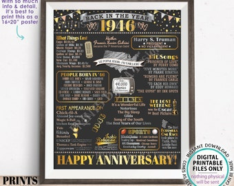 """Back in the Year 1946 Anniversary Sign, Flashback to 1946 Anniversary Decor, Anniversary Gift, PRINTABLE 16x20"""" Poster Board <ID>"""