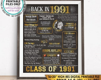 "Class of 1991 Reunion 27 Year Reunion Back in 1991 Flashback to 1991 27 Years Ago, Gold, PRINTABLE 8x10/16x20"" Chalkboard Style Sign <ID>"