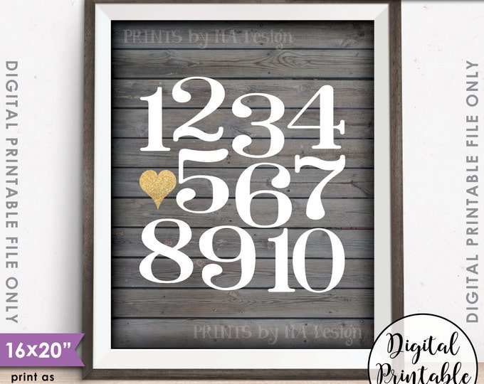 "Numbers Wall Art Playroom Art Nursery Decor, Heart, Counting Sign, Gold Glitter, Instant Download 8x10/16x20"" Rustic Wood Style Printable"
