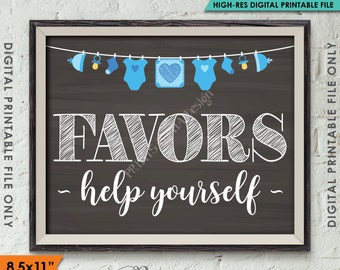"Favors Sign, Baby Shower Favors Thank You, Take a Favor Baby Shower Sign Decor, 8.5x11"" Chalkboard Style Instant Download Digital Printable"
