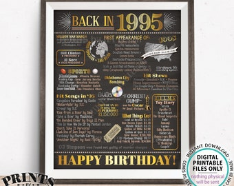 "Back in 1995 Birthday Poster Board, Flashback to 1995 Birthday Decoration, '95 B-day Gift, PRINTABLE 16x20"" Sign, Birthday Decor <ID>"
