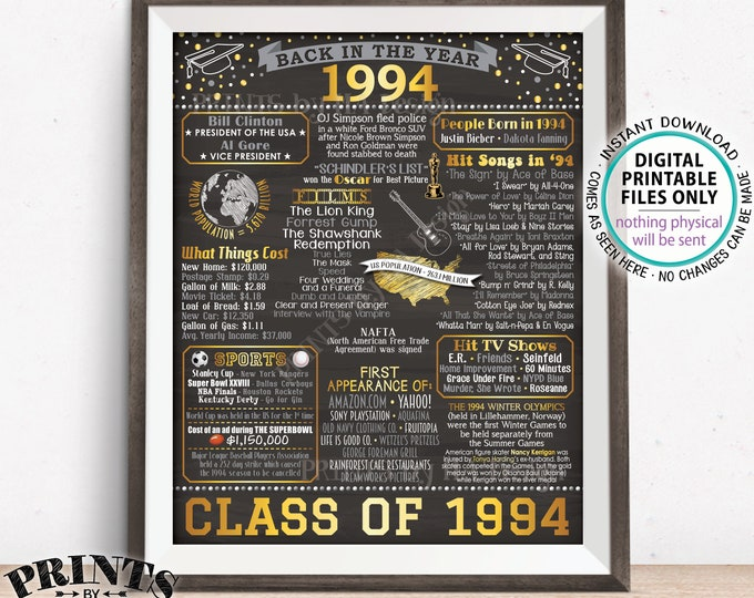 """Back in 1994 Poster Board, Class of 1994 Reunion Decoration, Flashback to 1994 Graduating Class, PRINTABLE 16x20"""" Sign <ID>"""