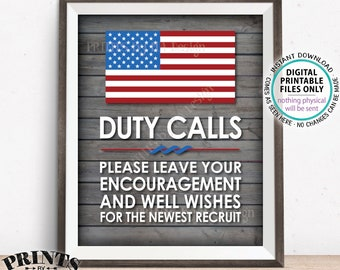 "Military Party Decor, Leave your Encouragement and Well Wishes, Boot Camp, Armed Forces, PRINTABLE 8x10/16x20"" Rustic Wood Style Sign <ID>"