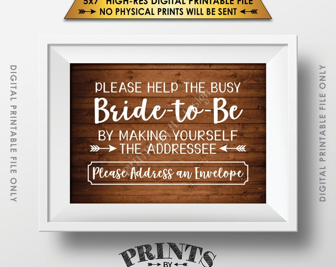 """Address Envelope Bridal Shower Sign Addressee Help the Bride by Addressing an Envelope Instant Download 5x7"""" Rustic Wood Style Printable"""