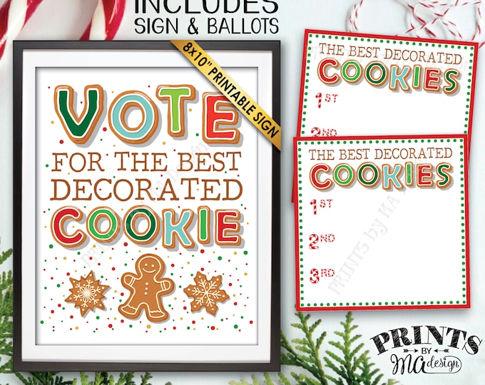 Vote for the Best Decorated Cookie, Christmas Cookies Baking Party, Holiday Cookie Voting Station, PRINTABLE Cookie Sign & Ballots <ID>