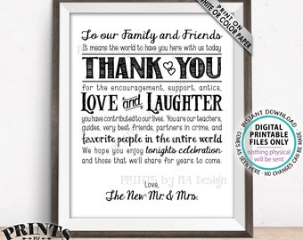 "Wedding Thank You Sign, Wedding Welcome Sign, Thanks Family and Friends from the New Mr & Mrs, Gratitude, PRINTABLE 8x10/16x20"" Sign <ID>"