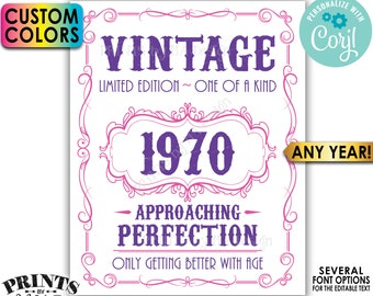 """Vintage Birthday Sign, Only Getting Better with Age Whiskey Themed Editable Template, Any Year,  PRINTABLE 16x20"""" <Edit Yourself w/Corjl>"""