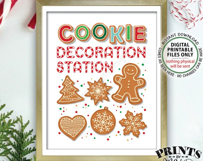 "Cookie Decoration Station Sign, Decorate Christmas Cookies Sign, Cookie Baking Party, Holiday Treat Party, PRINTABLE 8x10"" Cookie Sign <ID>"