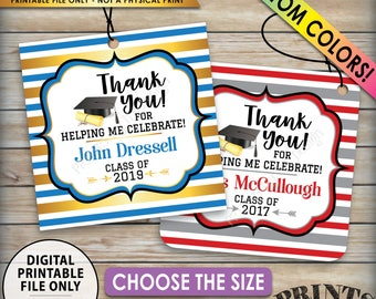 """Graduation Tags, Graduation Party Favors, Grad Party Favors, Class Of 2019, Choose Size & Colors, PRINTABLE 8.5x11"""" Sheet of  Thank You Tags"""