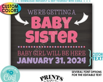 We're Getting a Baby Sister Pregnancy Announcement, It's a Girl Gender Reveal, PRINTABLE Chalkboard Style Sign <Edit Yourself with Corjl>