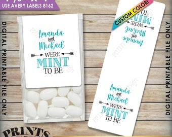 """Mint to Be Tic Tac Labels, Wedding Favors, Bridal Shower, Engagement, Tic Tacs Mints, PRINTABLE 1-1/3x4"""" Stickers, Print As Many As You Need"""