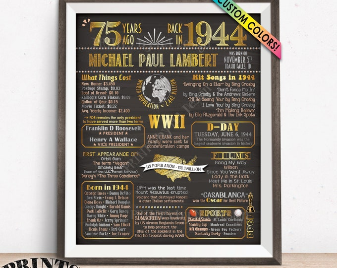 "Back in 1944 Poster Board, 75th Birthday Born in 1944 Sign, Flashback 75 Yrs B-day Gift, Custom PRINTABLE 16x20"" Sign"