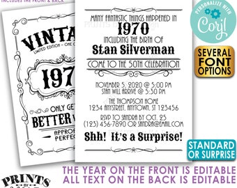 "Vintage Birthday Party Invitation, Better with Age, Standard or Surprise Bday Invite, Two PRINTABLE 5x7"" Files <Edit Yourself with Corjl>"
