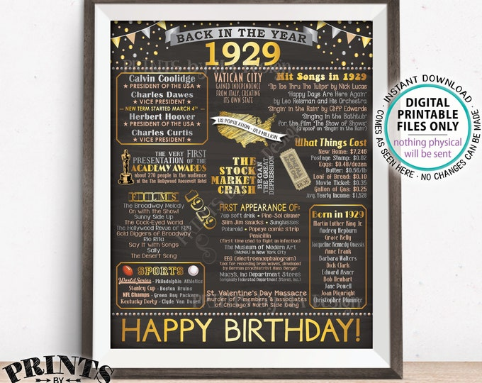 "1929 Birthday Poster Board, Back in 1929 Birthday Decoration, Flashback to 1929 B-day Gift, PRINTABLE 16x20"" Sign <ID>"