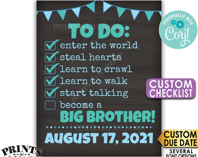 To Do List Pregnancy Announcement, Become a Big Brother, PRINTABLE Chalkboard Style CUSTOM CHECKLIST Sign <Edit Yourself with Corjl>