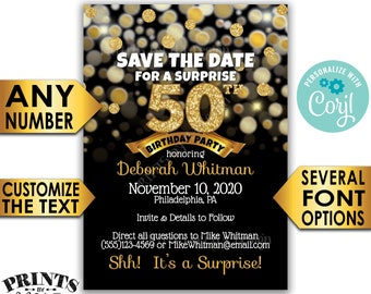 "Surprise Birthday Party Save the Date, Black & Gold Glitter Birthday, PRINTABLE 5x7"" Golden Bday Invite <Edit Yourself with Corjl>"