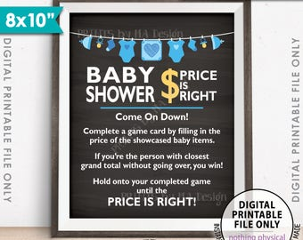 "Price is Right Baby Shower Game Sign, Guess the Prices Activity, Price Game, Shower Decor, 8x10"" Chalkboard Style Printable Instant Download"