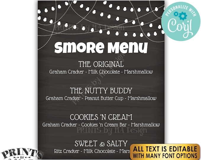 "Custom S'more Sign, S'mores Menu, PRINTABLE 8x10/16x20"" Chalkboard Style Sign, Smore Station, Lights <Edit Yourself with Corjl>"