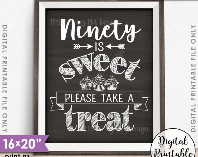 90th Birthday Party Cupcake Sign, Ninety is Sweet Please Take a Treat, PRINTABLE Chalkboard Style 90th Party Décor