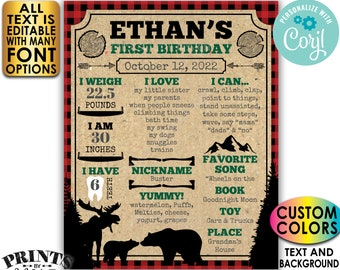 Lumberjack Birthday Poster, Personalized Milestones Board, Custom Colors, PRINTABLE 1st B-day Stats Sign <Edit Yourself w/Corjl>