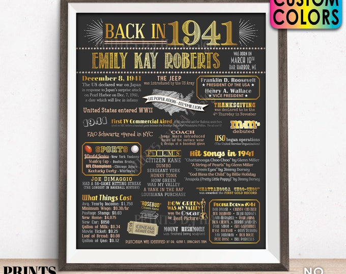 "Back in 1941 Birthday Poster Board, Flashback to 1941 Birthday Decoration, B-day Gift, Custom PRINTABLE 16x20"" 1941 Sign"