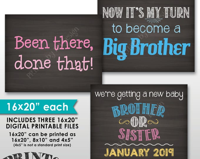 """3rd Baby Pregnancy Announcement Photo Props, Been There Done That Now It's My Turn, Chalkboard Style PRINTABLE 8x10/16x20"""" Baby Reveal Signs"""