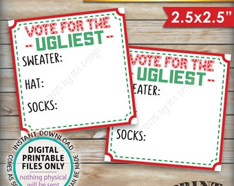 "Ugly Christmas Sweater Party Voting Ballots, Vote for the Ugliest Sweater Hat Socks, Tacky Sweater Party, PRINTABLE 2.5"" Ballots <ID>"