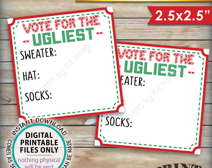 """Ugly Christmas Sweater Party Voting Ballots, Vote for the Ugliest Sweater Hat Socks, Tacky Sweater Party, PRINTABLE 2.5"""" Ballots <ID>"""