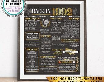 "1992 Flashback Poster, Flashback to 1992 USA History Back in 1992 Birthday Anniversary Reunion, PRINTABLE 16x20"" Sign <ID>"