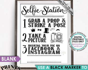 "Selfie Station Sign, Share your pic on Social Media, Facebook Instagram Hashtag, Take a Selfie Photo, PRINTABLE 8x10/16x20"" Selfie Sign <ID>"
