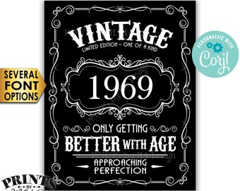 """Vintage Birthday Sign, Better with Age Liquor Themed Party, Any Year, PRINTABLE Black & White 8x10/16x20"""" Sign <Edit Yourself with Corjl>"""