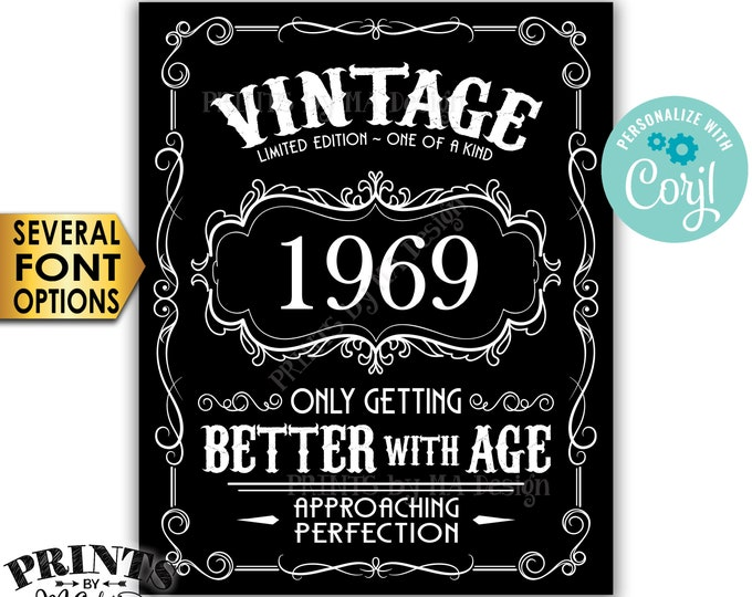 "Vintage Birthday Sign, Better with Age Liquor Themed Party, Any Year, PRINTABLE Black & White 8x10/16x20"" Sign <Edit Yourself with Corjl>"
