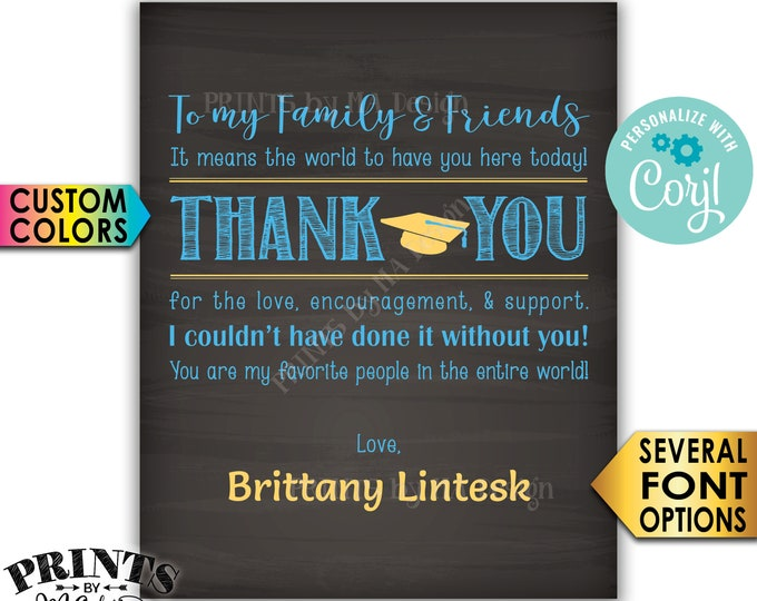 Graduation Thank You Sign, Thanks from the Grad Poster, PRINTABLE Chalkboard Style Graduation Party Decoration <Edit Yourself with Corjl>