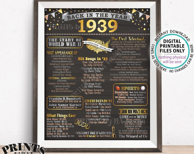 "Back in 1939 Flashback Poster Board, Remember 1939 Flashback Poster, USA History, PRINTABLE 16x20"" Back in 1939 Sign <ID>"